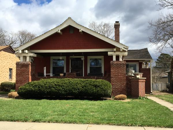 "Sears called this Arts and Crafts-style bungalow ""The Osborne."" Buyers of kit homes could choose brick, stucco, cedar shingle or clapboard for the exterior but would have to buy brick locally."