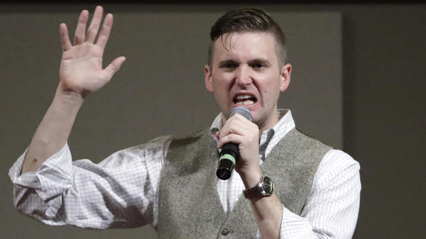 "Richard Spencer, a white nationalist who claims to have coined the term ""alt-right,"" speaks at Texas A&M in College Station, Texas, in Dec. 6, 2016."