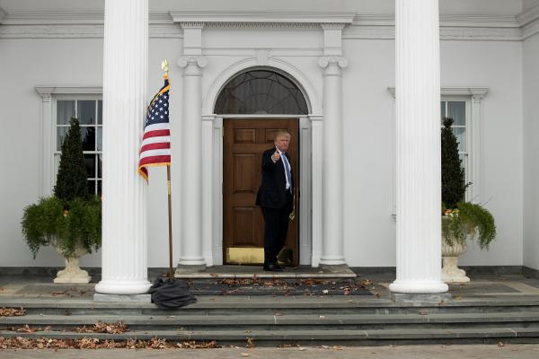 President Trump heads back inside the Trump National Golf Club clubhouse in Bedminster, N.J., on Nov. 20, 2016.
