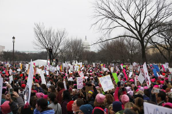 The Women's March brought together more than 400,000 protesters in Washington, D.C., and sparked more than 600 sister marches worldwide on Jan. 21.