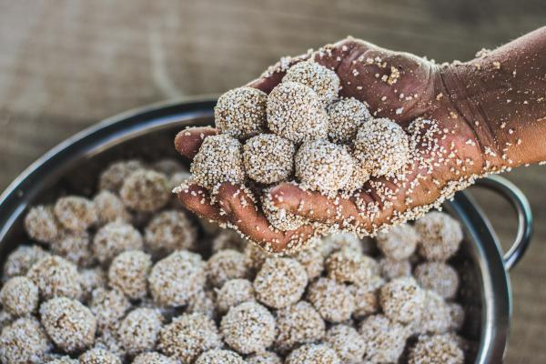 Close-up of<em> tzoallis</em> being made during a summer nutrition workshop held by Puente a la Salud, a group based in Oaxaca, Mexico, that is helping to push an amaranth comeback. An ancient Aztec staple, t<em>zoallis </em>are made of amaranth and corn flour, agave honey and amaranth cereal.