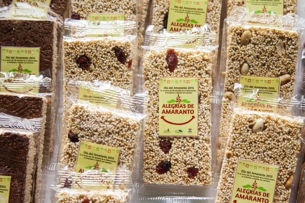 Alegrías made by microenterprise group members of the Central Valleys Amaranth Farmers Cooperative, for sale at an Amaranth Day event in Etla, Oaxaca.