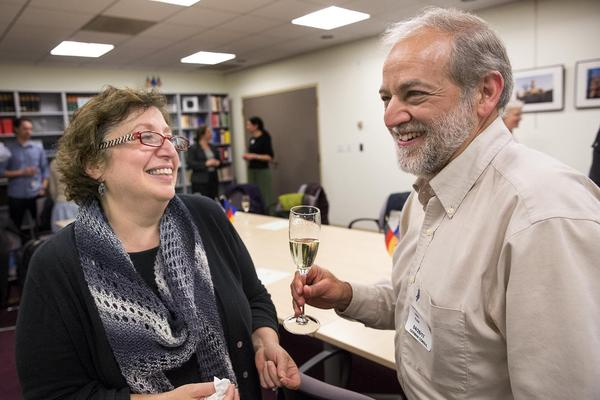 Larry Klein celebrates his German citizenship with his wife Amy Gilman, 56. (Robin Lubbock/WBUR)
