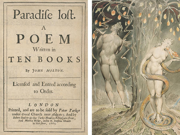 Left: Title page of the first edition of <em>Paradise Lost</em> (1667). Right: William Blake, <em>The Temptation and Fall of Eve</em>, 1808 (illustration of Milton's <em>Paradise Lost</em>)
