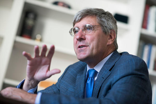 Stephen Moore of The Heritage Foundation is interviewed by CQ in his Washington office, in August 2016.