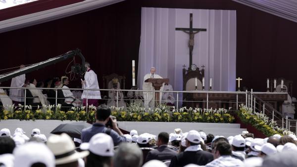 Pope Francis celebrates Mass at the Air Defense Stadium in Cairo.(AP Photo/Nariman El-Mofty)