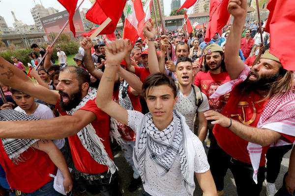 Supporters of the Lebanese Communist Party take part in a May Day rally as they mark International Workers' Day in Beirut.
