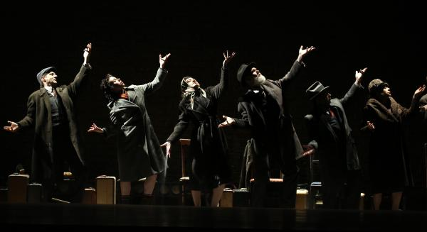<em>Indecent</em> begins with a ghostly dance in which ashes fall out of the actors' overcoats. The play is playwright Paula Vogel's first Broadway production.
