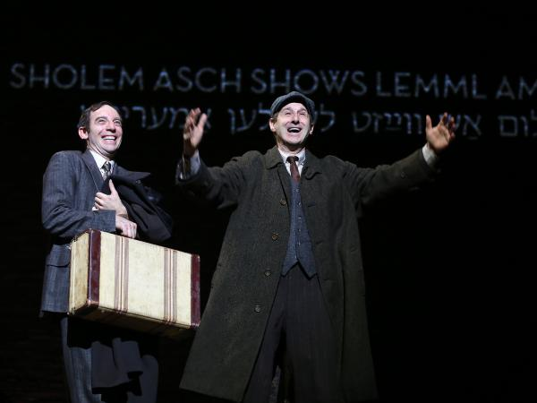 <em>Indecent</em> shows<em> God of Vengeance</em> playwright Sholem Asch (Max Gordon Moore) and stage manager Lemml (Richard Topol) taking their play to America.