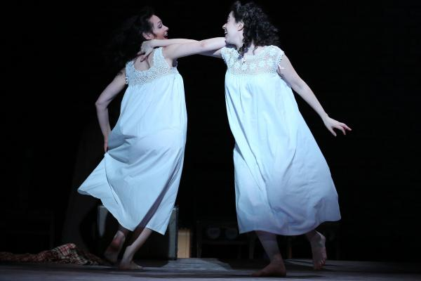 Adina Verson (right) and Katrina Lenk play, respectively, Rifkele, the brothel owner's daughter, and Menke, the woman she falls in the love with.