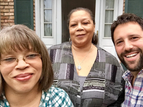 Rosa Parks' nieces Sheila McCauley Keys and Deborah Ann Ross (center) with the author, Dan Pashman.