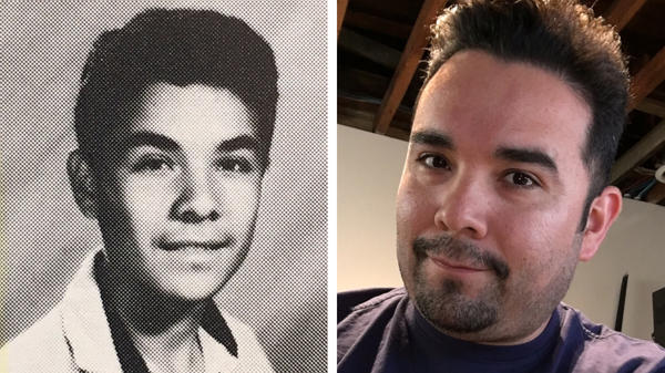 Gilbert Monterrosa was 15 years old (left, from his high school yearbook in 1992) during the Los Angeles Riots. He and some friends decided to loot a Fedco department store where he found something unexpected — Nirvana's album, <em>Nevermind</em>.