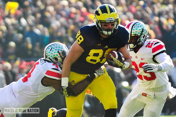 Michigan's All-American tight end Jake Butt was projected to be a first round pick in the 2017 NFL Draft, but a torn ACL in the Orange Bowl made him a fifth round pick. Luckily, he had some insurance.