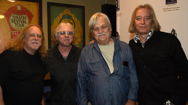 Col. Bruce Hampton, center in blue, backstage with (from left) Warren Haynes of GOV'T MULE, Mike Mills and Peter Buck of R.E.M. during 'Hampton 70: A Celebration Of Col. Bruce Hampton' on May 1, 2017.