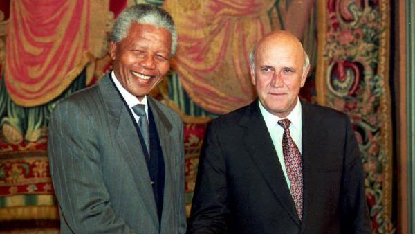 South African President F.W. de Klerk and Nelson Mandela jointly received the Nobel Peace Prize in Oslo, Norway, in 1993 for negotiating an end to apartheid. Earlier that year, de Klerk announced that South Africa had dismantled six nuclear weapons, becoming to first country to get rid of nuclear bombs that it had built.