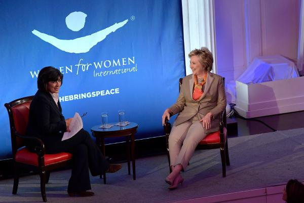 Journalist Christiane Amanpour and former Democratic presidential nominee Hillary Clinton speak during the Women For Women International's luncheon on Tuesday.