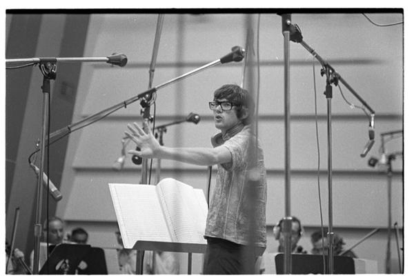 "Jimmy conducting orchestra for ""MacArthur Park."" (Courtesy Henry Diltz)"
