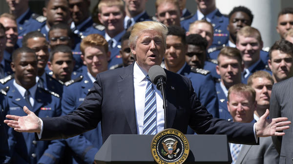 President Trump speaks in the Rose Garden of the White House during Tuesday's presentation of the Commander-in-Chief's Trophy to the Air Force Academy football team.