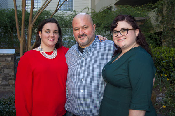 Sean Bunn, and his daughters Kelly Best, left, and Niki Ilse. In the midst of fighting brain cancer, Sean found out he has two biological daughters as a result of donating sperm when he was a college student. (Lynn Jolicoeur/WBUR)