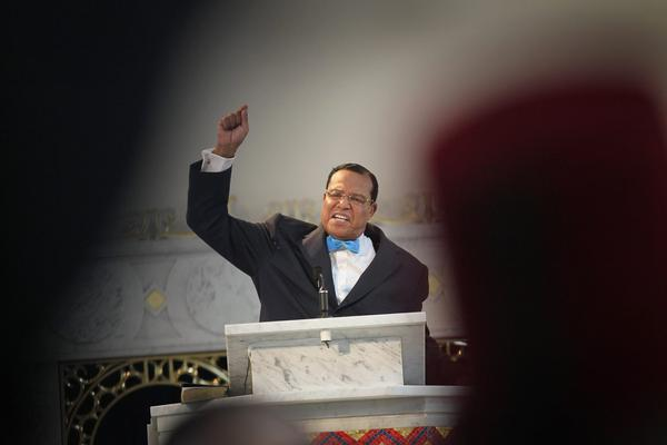 Minister Louis Farrakhan, leader of the Nation of Islam, gets a standing ovation  from his followers as he makes a point while speaking at a press conference at Mosque Maryam on March 31, 2011, in Chicago. (Scott Olson/Getty Images)