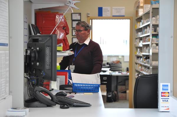 A pharmacist at Crider Health Center in Wentzville.