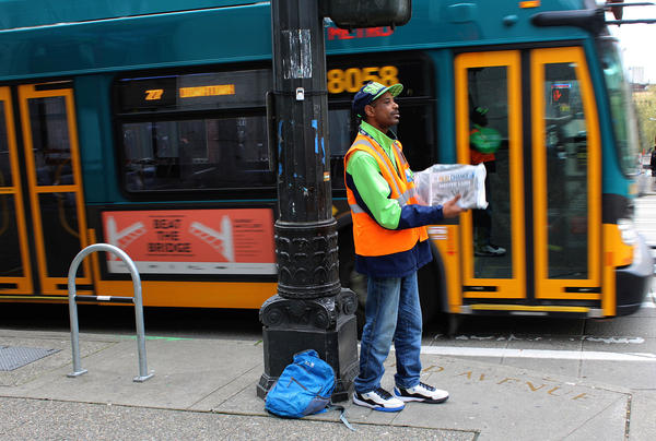 Zackary Tutwiler, 38, sells Real Change newspapers on the corner of Third Avenue and James Street in downtown Seattle everyday. He doesn't have to -- he has permanent housing in Ballard -- but he does it anyway.