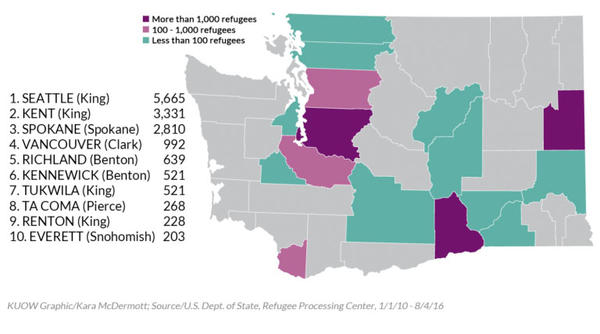 Refugees in Washington state overwhelmingly come to King County. In the past five years, of the 624 Congolese refugees that settled in the state, 298 came to Seattle, Kent and Tacoma.