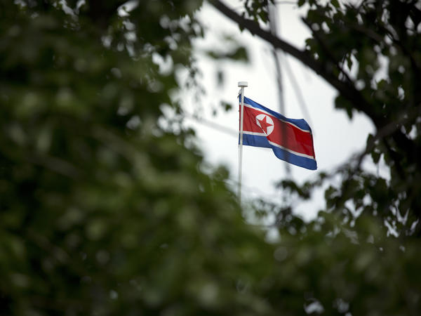 The North Korean flag flies above the country's embassy in Beijing last month. China is the North's most important trading partner and ally, but lately Beijing has been placing pressure on Pyongyang over the North's nuclear and missile programs.