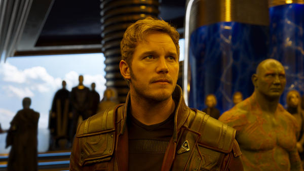 Star-Lord/Peter Quill (Chris Pratt) and Drax (Dave Bautista) in <em>Guardians Of The Galaxy Vol. 2</em>.
