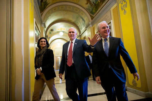 Seema Verma, the administrator of the Centers for Medicare and Medicaid Services, joins Vice President Pence and Health and Human Services Secretary Tom Price on Capitol Hill to advocate for the GOP health overhaul bill.
