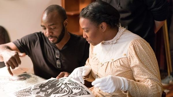 Director Alrick Brown and actress Olivia Washington on the set of <em>The Forever Tree</em>.