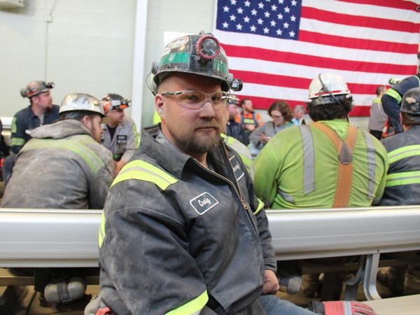 "Coal miner Craig Williams waits on a break from his job at Consol Energy's Harvey Mine, in Sycamore, Pa. ""We're one of the last industries around and hope to keep it that way,"" he says."