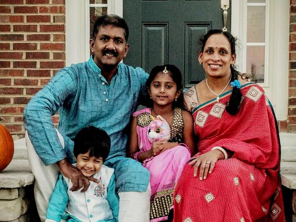 Reddy Annappareddy in 2016 with his wife Seeta Kallam, and their daughter Sravya Lalana Annappareddy, 7, and son Aviv Arya Annappareddy, 3.