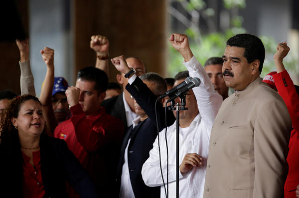 Venezuelan President Nicolas Maduro pauses during a speech Wednesday in which he called for a constituent assembly to decide changes to the country's constitution.