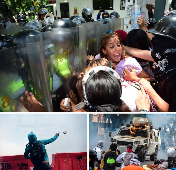 (Top) Students from the Central University of Venezuela confront riot police during a protest in Caracas on Thursday. (Bottom left) A student throws a stone at riot police. (Bottom right) Opposition activists assault and set fire to a National Guard riot control vehicle during a protest on Wednesday.