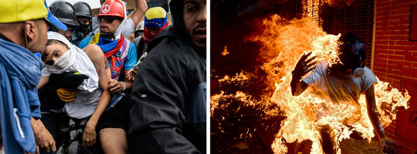 (Left) An opposition demonstrator, injured by a National Guard control vehicle, is dragged away by fellow demonstrators during a protest on Wednesday. (Right) Another demonstrator catches fire after a motorcycle exploded during demonstrations the same day.