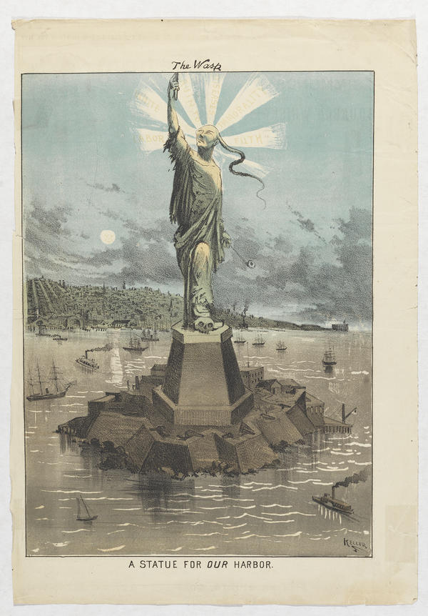 <em>A Statue for Our Harbor</em> was<em> </em>published in 1881. It expressed the fear of Chinese immigrants, which led to the passage of the Chinese Exclusion Act 135 years ago.
