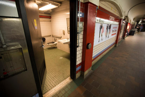 A public restroom on the platform of the Central Square MBTA station in Cambridge, Mass., which people have used as a place for getting high.