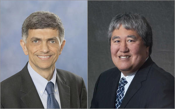 Oregon Gov. Kte Brown has appointed Fariborz Pakseresht, left, to replace retiring Department of Human Services Director Clyde Saiki