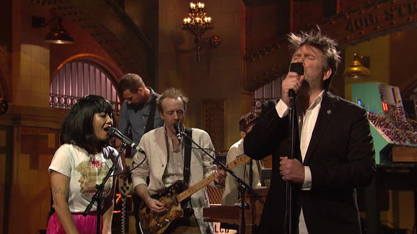 """LCD Soundsystem performs """"Call The Police"""" on <em>Saturday Night Live</em>."""