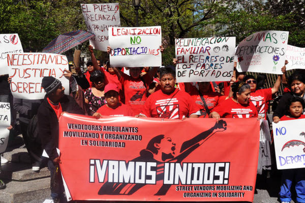 "<p>In this May 1, 2013, file photo, a coalition of immigrants groups, unions and Occupy Wall Street protesters in New York City protest restaurants and other low-wage businesses. Under the Trump administration's immigration crackdown, some restaurants have declared themselves ""sanctuary restaurants,"" offering safe havens for migrant and refugee workers, as well as people of all races, genders, nationalities and religions. </p>"