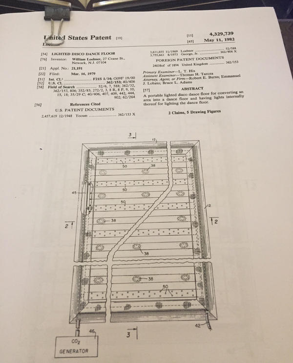 "The patent for ""Lighted Disco Dance Floor,"" displayed during the Library of Congress' ""Bilbiodiscotheque"" retrospective on May 6, 2017."