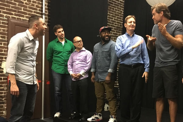Air Force veteran B.J. Lange (left) leads the first improv class for veterans at Hollywood's Second City.