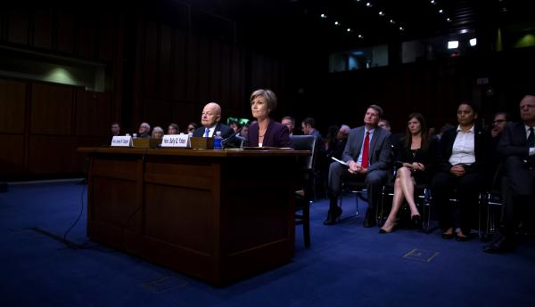 Former Director of National Intelligence James Clapper and former U.S. Deputy Attorney General Sally Yates testify before the Senate Judiciary Committee's Subcommittee on Crime and Terrorism on Capitol Hill on Monday.