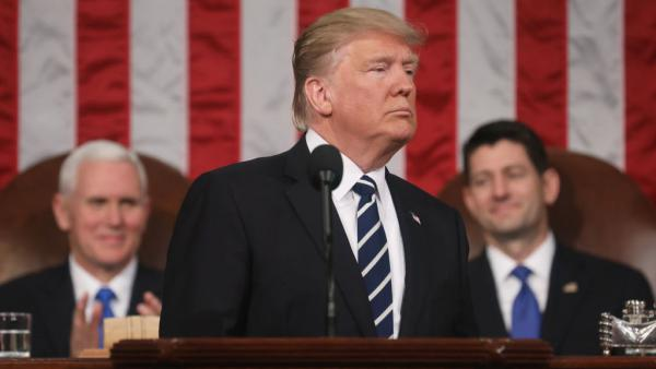 President Trump delivers his first address to a joint session of Congress in February. After the compromise spending bill failed to fulfill all his budget requests, the president appears to be gearing up for a fight in September.