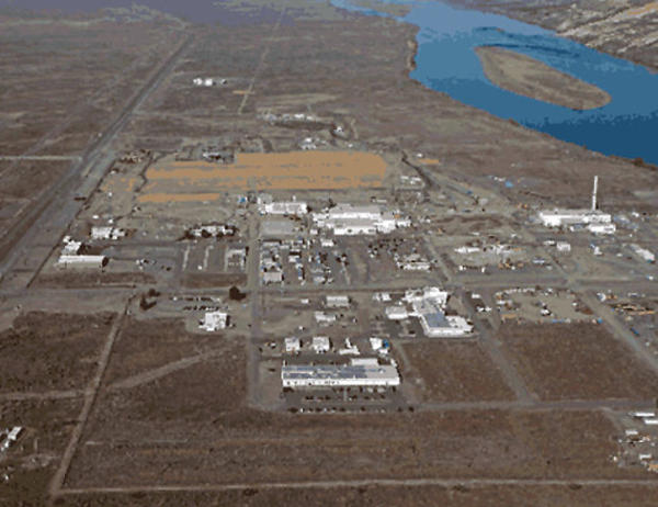 A recent photo of the 300 Area at Hanford Nuclear Reservation after removal of contaminated buildings, waste sites, backfill and revegetation of the northern portion (tan area).