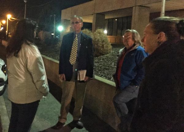 Richland councilman Phil Lemley draws a crowd outside a Richland meeting to discuss why many minorities here are feeling under fire. Lemley told the crowd he just doesn't believe racism is happening in Richland.