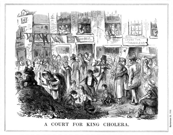 A cartoon from an 1852 issue of <em>Punch</em> shows the unsanitary conditions in London slums, which led to cholera outbreaks.