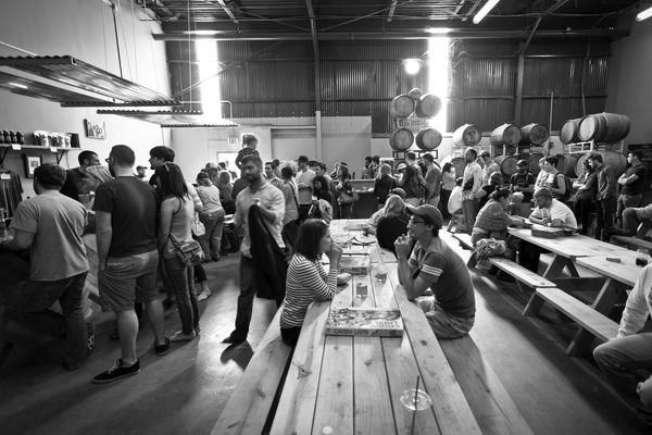 The Hops and Grain tap room in Austin.