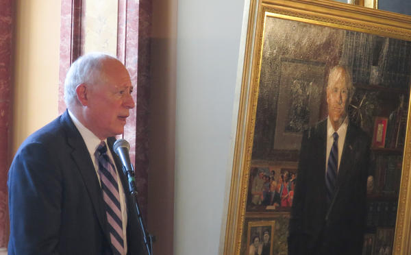 Former governor Pat Quinn spoke to a crowd of supporters and dignitaries Monday after unveiling his portrait in the Illinois Capitol.